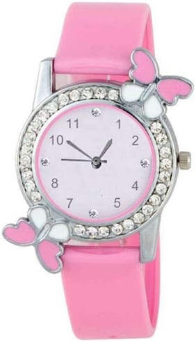 HRV Butterfly Pink BF Collection Pu Girls and Women Watch