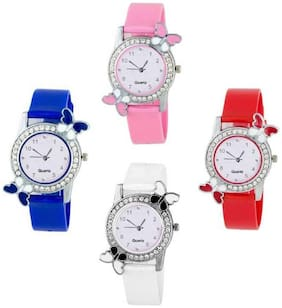 HRV Butterfly Blue_Pink_White_Red BF Collection Pu Girls and Women Watch