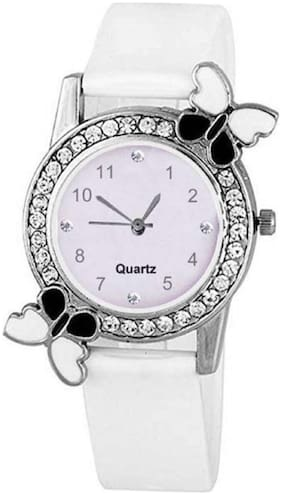 HRV Butterfly White BF Collection Pu Girls and Women Watch