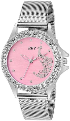 HRV C-1421 Peacock Design Pink Dial Watch - For Girls