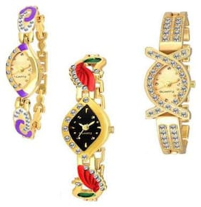 HRV Collection MultiColor Peacock and Gold Chain Fancy Look Gift Girls and Women Watch pack of 3