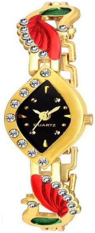 HRV Collection Red Peacock Black Dial and  Gold Chain Fancy Look Gift Girls and Women Watch