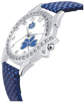 HRV Collection Blue Butterfly Leather look Gift Girls and Women Watch