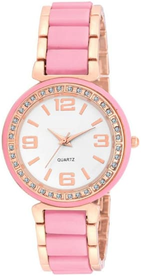 HRV Collection Pink  and Rose Gold Chain Fancy Look Gift Girls and Women Watch