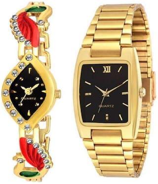HRV Designer Gold Strap Black Dial Couple Watch - For Men & Women