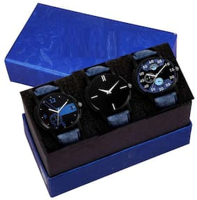 HRV Exclusive denim fashion Analog watches combo for men's and boy's (casual+formal+Party wedding watches combo) Watch - For M