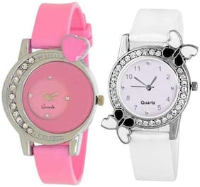 HRV Love Passion White With Clssic Designer Pink Pu Strap Combo For Women Watch - For Girls