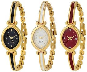 HRV Multi~Colour Dial Metal Strap PartyWear+Casual+Formal Combo Of 3 Watch - For Girls