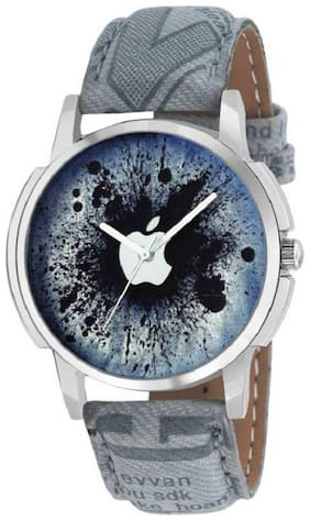 TF New Designer APPLE Print Dial Silver Case Blue Leather Belt Men & Women Watch - For Boys