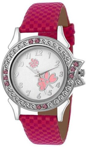 HRV Pink Leather Butterfly Women And Girls Watch
