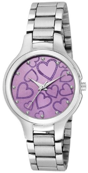 HRV Purple Shineble Dial Stainless Still Strap Heart Printed Dial Women Watch - For Girls