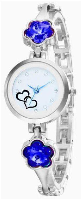 Hrv Silver Ladies Blue Crystal Diamond Watch Women Casual Analog New Rhinestone Silver Gold Saat Love Heart Lady Bracelet Watch