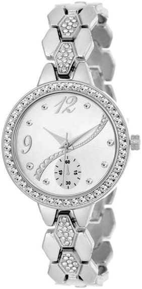 HRV Silver Rich~Look Cronograph Pattern Metal Strap Watch For Women And Girls Watch - For Girls