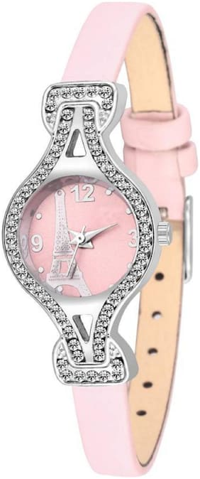 HRV STUDDED Pink LEATHER STUDDED Watch Case color silver