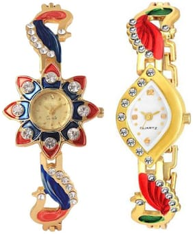 HRV Stylish Diamond Studded Party-Wedding Style Watch For Girls & Women Pack of 2