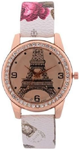 HRV White Eiffel Tower Rose Gold Girls and Women Watch