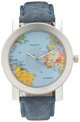 Imported Blue Globe Watch Watches for Men-Travel Around the World