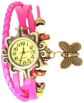 Infinity enterprise pink classic leather strap analog watch for women