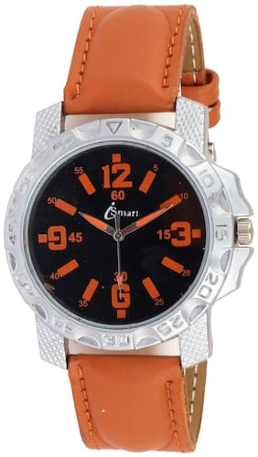 Ismart Men Leather Black Print Round Award Winning Classic is20 Watch