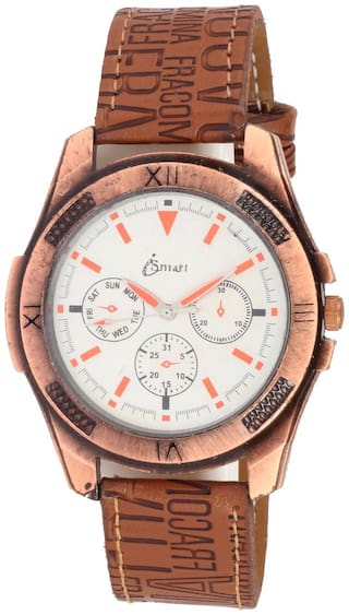 Ismart Men Leather Brown Imported Collection Analogous is15 Watch