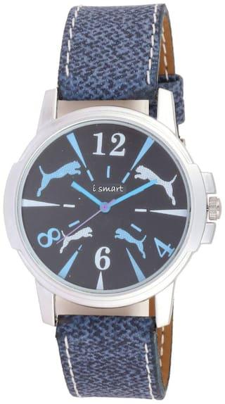 Ismart Men Leather Blue lion Print Round Classic is19 Watch