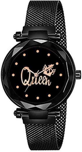 J Kart Qween Black Magnetic Strap Luxury 12 Diamond Richest Look Low Costing Girl Watch @1