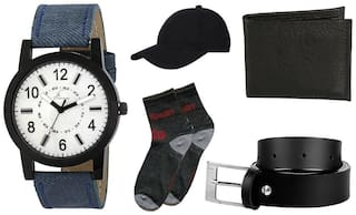 Buy Jack Klein Denim Finish Watch And Get Cap, Socks, Belt And Wallet Free(Assorted Colours)