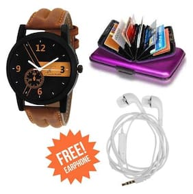 Jack Klein Brown Strap Analog Watch With Free Earphone And Credit Card Wallet