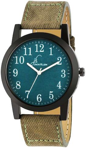 Jack Klein Denim Finish Green Casual Wrist Watch