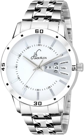 Jack Klein Elegant White Dial Silver Chain Day And Date Working Analog Wrist Watch
