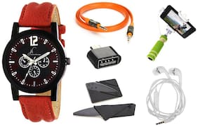 Jack Klein Combo of Stylish Watch, Aux Cable, OTG, Credit Card Knife, Earphone And Selfie Stick(Assorted Colours)