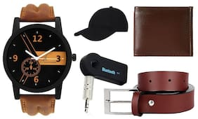 Jack klein Combo of Brown Watch, Belt, Wallet, Cap And Car Bluetooth(Assorted Colours)