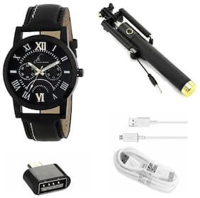 Jack Klein Stylish Analog Watch With Free Accessories For Men (Watch/ Selfie Stick/ Data Cable/ And Adaptor)