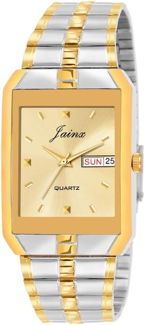 Jainx Attractive Two Tone Bracelet Style Chain with Premium Golden Square Analogue Watch for Men - JM1129