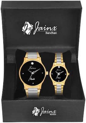 Jainx Bandhan Premium Golden Analog Watch For Couple - JC444