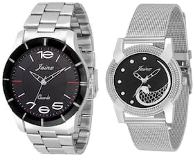Jainx Black Dial Analog Chain Watch Combo For Couples - JC437