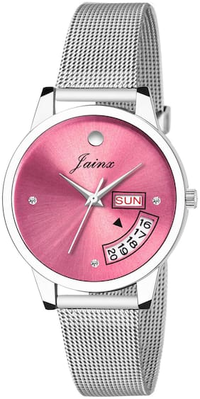 Jainx Day And Date Pink Dial Analog Watch For Women & Girls - JW597