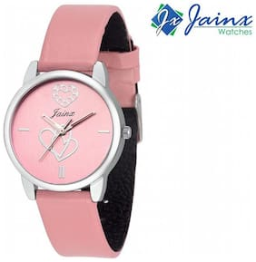 Jainx Pink Dial With Hearts Printed Analog Watch For Women & Girls - JW547