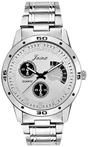 Jainx Silver Dial Chronograph Pattern Chain Analog Watch For Men & Boys  JM240