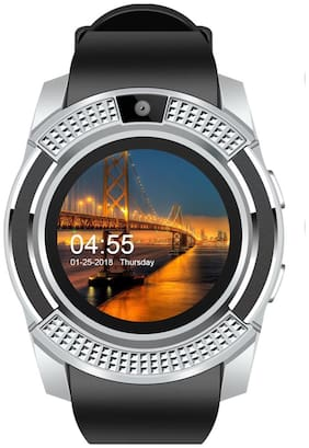 JM New V8 Black Silver Colour Smart Watch With Sim/sd card support