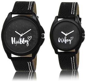K&U Black Analog Couple Watch