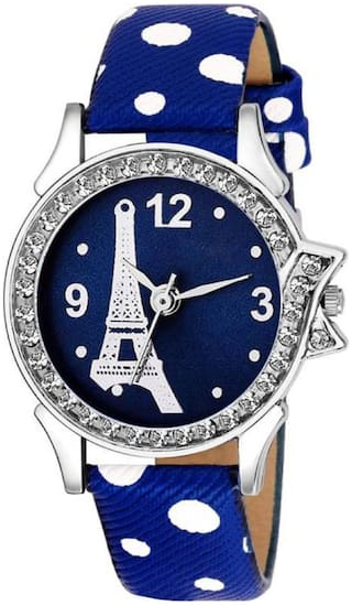 K&U Blue Eaffile Tower Leather Women Watch