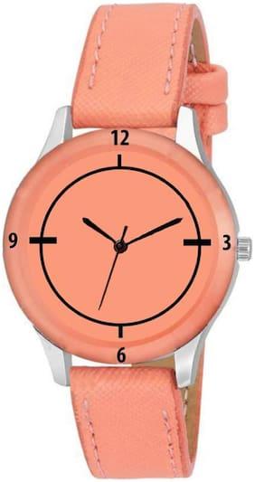 K&U Orange CutGlass Party Wedding Designer Italian Leather Strap Watch