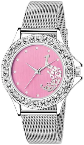 K&U Pink Peacocok Ad Dial Women Watch