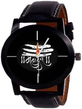 K&U simple latest fashion mahadev dial watch black belt analog fancy Watch Pack of 2- For Boys