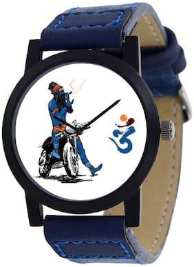 K&U Trending Mahadev Blue Leather Strap Watch - For Men