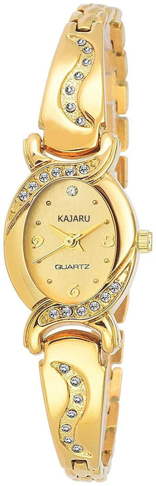 KAJARU BANGALE-901 GOLD DIAL BANGAL WATCH FOR WOMAN AND GIRL
