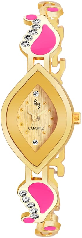KAJARU BANGLE-906 Gold DIAL BENGAL WATCH FOR WOMEN And Girls