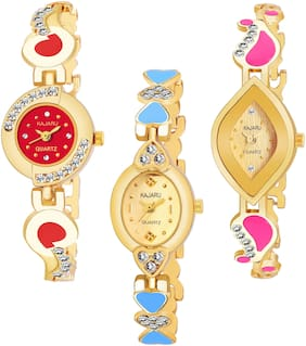 KAJARU BANGLE_1100 NEW ARRIVAL ATTRACTIVE PACK OF 3 WATCH FOR WOMEN