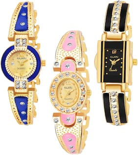 KAJARU BANGLE_1105 NEW ARRIVAL ATTRACTIVE PACK OF 3 WATCH FOR WOMEN